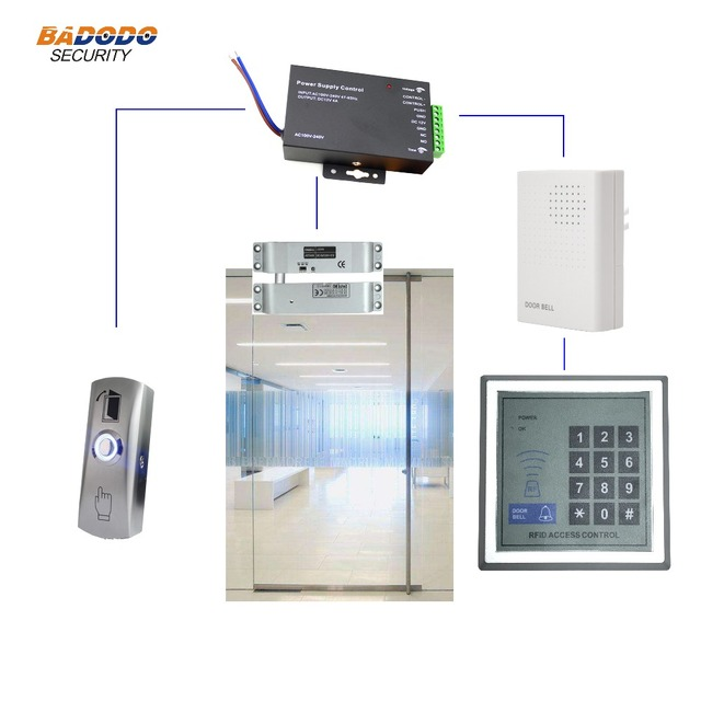 Access Control Kit With Standalone Controller Electric Lock For Single Glass Door Home Office Security