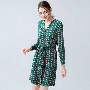 Dress Women 100% Silk Fabric Printed V Neck Long Sleeves Elastic Waist Casual Style Dress New Fashion Spring 2019 silk