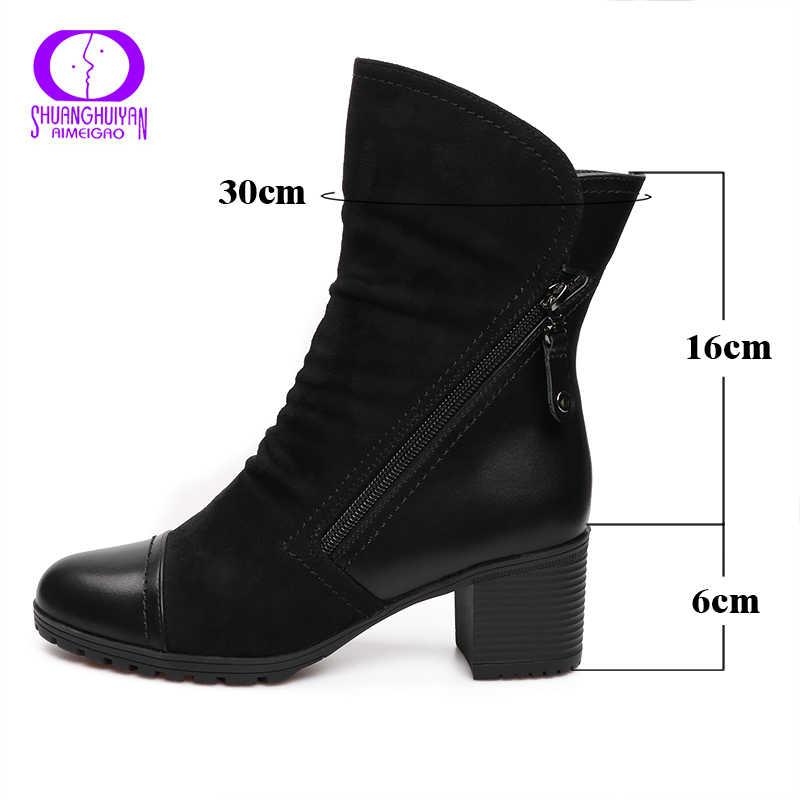 AIMEIGAO Yeni Varış Kadınlar Yüksek Topuk yarım çizmeler Süet Deri Kadın Çizmeler Çift Zip Kısa Peluş Kare Topuk Siyah Kışlık Botlar