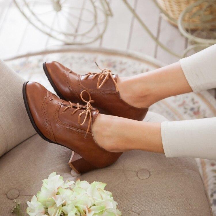 Herbst rot weiß Dicken Schuhe Größe 34 Womenladies Neue 51 Schwarzes Up High Lace Frauen Mode Absätzen Heels 2017 Große Frühjahr Stiefeletten brown wgxqBxHI