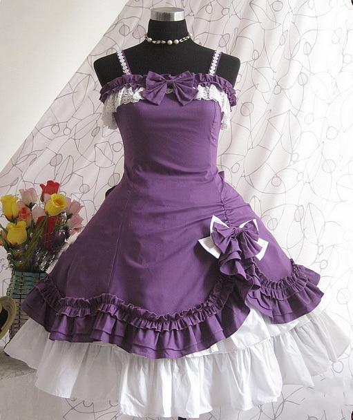 Cute  Purple Cotton Two-Piece Lolita Dress Costumes