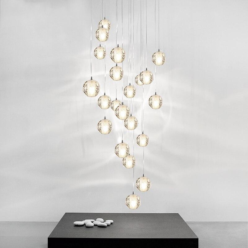 Iluminação Lustre de Cristal moderno Hotel de Grande Escadaria Pendurado Luzes LED Lâmpadas de Cristal para Sala de Jantar Decoração