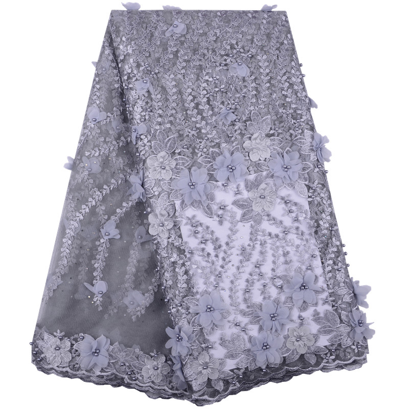 2018 Gray High Quality African Lace Fabric 3D Flowers With Beaded Tulle Lace Fabric New Design