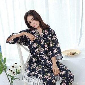 Image 2 - 100% Katoenen Kimono Pyjama Japanse vrouwen Gaas Dunne Pijama Mujer V hals Vrouwen Pyjama Set Drie Kwart Pyjamas Thuis Kleding