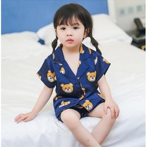 Летняя детская одежда для сна, пижамы для девочек, пижамы для мальчиков, детская одежда для сна, домашняя одежда для малышей с мультяшным мед...