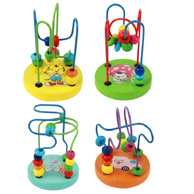 Wooden Baby Toddler Early Educational Toys Circle First Bead Coaster Maze For Kids Children Toddler