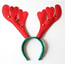 Antler shape Christmas Antler hair band for kids and girls,red baby party headband with six little bells
