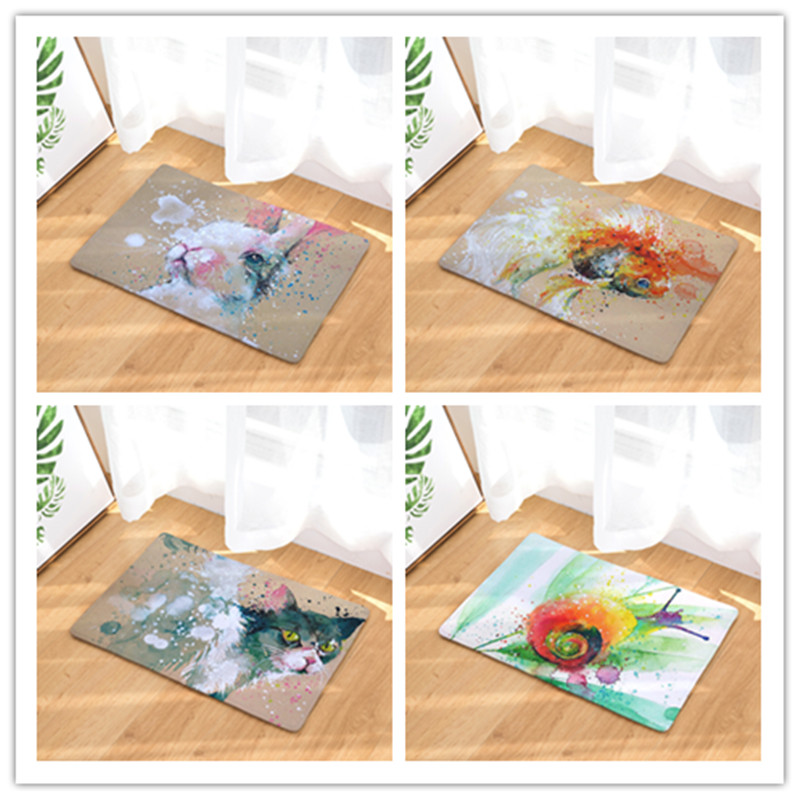 new arrive welcome home hallway flannel mats cool animal pattern rugs rectangular waterproof light carpets for bedroom