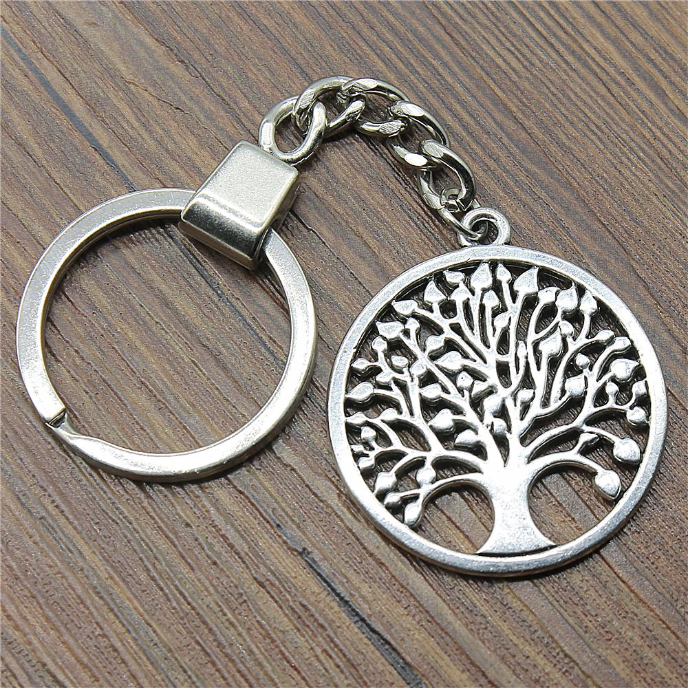 Men Jewelry Key Chain Party Gift Keychains Dropshipping Jewelry 38x34mm New Round Tree Of Life Antique Silver Key Rings