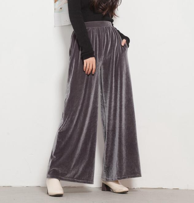 Retro Gold Velvet High Waist Wide Leg Pants Spring Summer Fashion Casual Solid Women Loose Trousers