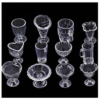 12pcs DIY Miniature Dessert Cup Jewelry Accessories Handmade Craft Tableware Simulation Plastic Tools Clay Dollhouse Decor Art недорого