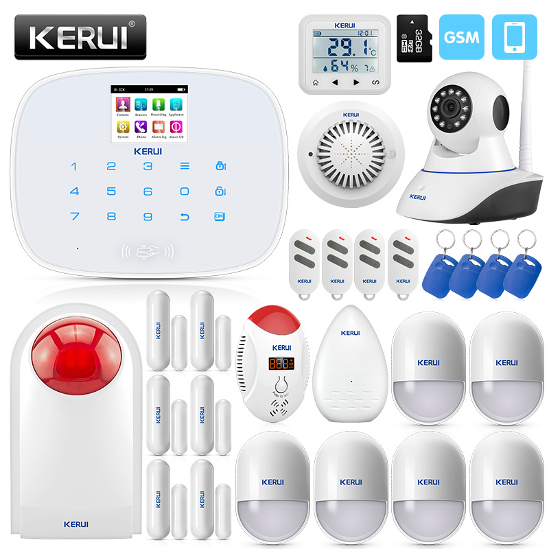 KERUI 2.4 Inch TFT Screen Wireless Smart Home GSM Security Alarm System Motion Detector Door Sensor Burglar Alarm With IP Camera