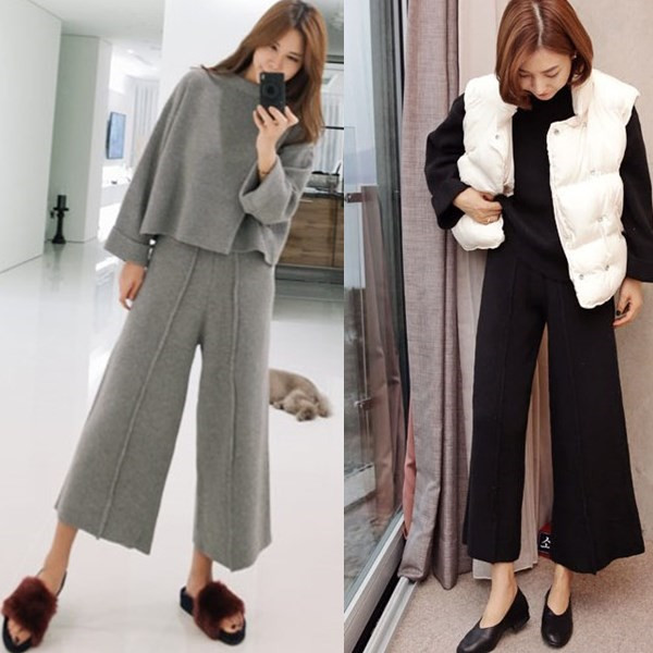 Cashmere suit coarse wool sweater + trousers casual two-piece set cut jacket and skirt suit real O collar all 2017 the new