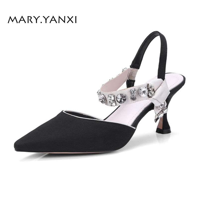 Spring/Autumn Women Pumps Shoes Crystal Silk Genuine Leather High Thin Heels Pointed Toe Fashion Casual Shallow Elastic band super high heels pointed toe women shoes pumps spring summer pointed shallow mouth thin high heel women pumps silk elegant pumps