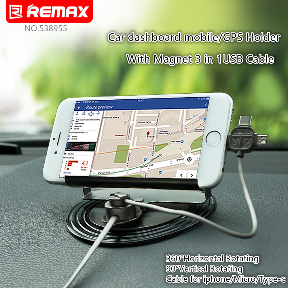 Remax Degree Universal Car phone Holder with in usb Magnetic cable for
