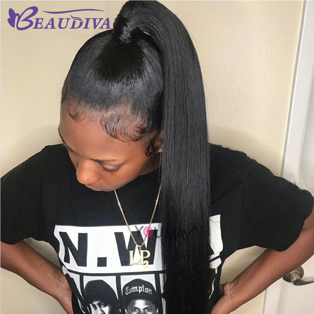 Straight Human Hair Ponytail Brazilian Clip In Hair Extensions Natural Black Remy Beaudiva 100 Human Hair
