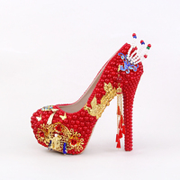Red Pearl Round Golden Phoenix Palace Wedding Shoes High Heeled Evening Dress Shoes Butterfly Tassel Bride