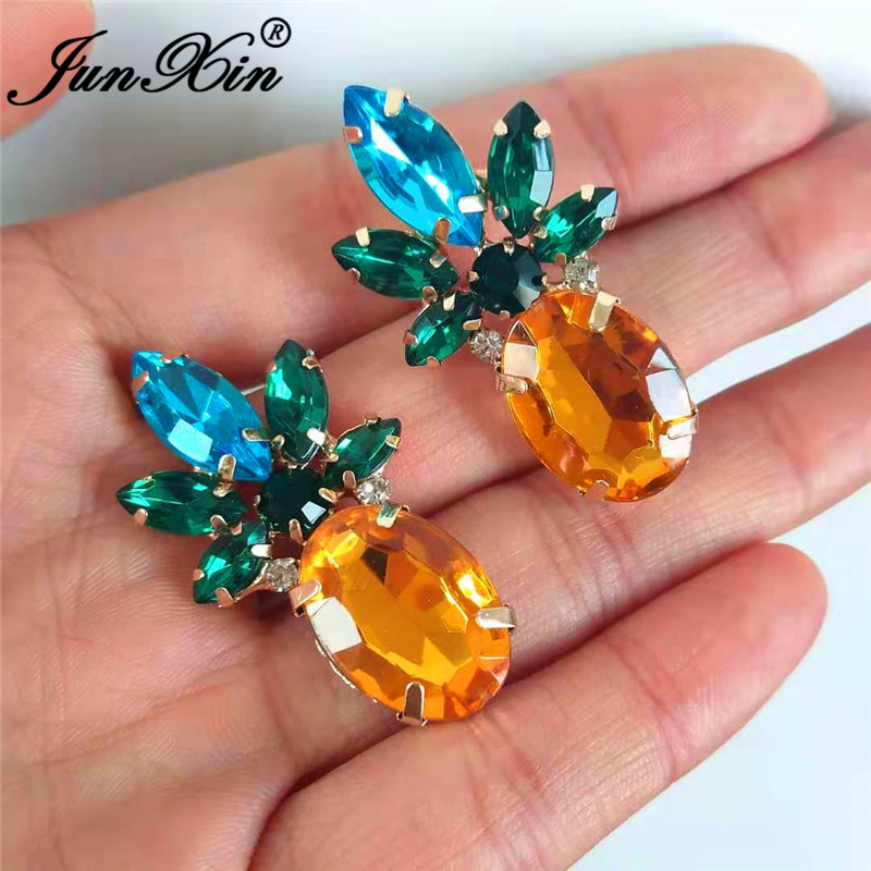 JUNXIN Cute Fruit Pineapple Earrings Yellow Gold Filled Blue Green Champagne Crystal Stud Earrings For Women Big Earring Jewelry