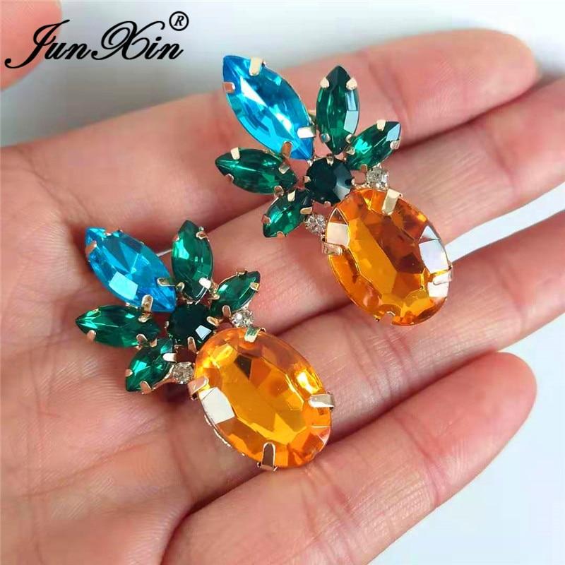JUNXIN Cute Fruit Pineapple Earrings Yellow Gold Filled Blue Green Champagne Crystal Stud Earrings For Women Big Earring Jewelry