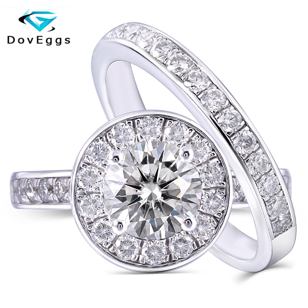 DovEggs Platinum Plated Silver Center 1ct 6 5mm H Color Moissanite Halo Engagement Wedding Ring Set