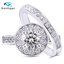 DovEggs Sterling Solid 925 Silver Center 1ct 6.5mm H Color Moissanite Halo Wedding Ring Set 2 Pieces Bridal Classic Band