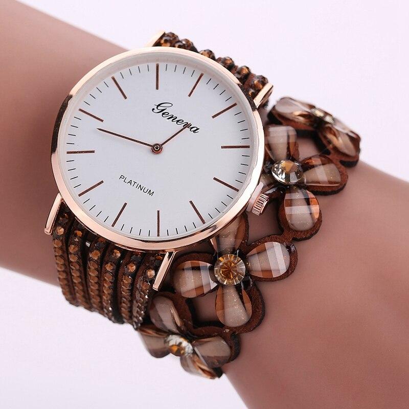Fashion Geneva Flowers Watches Women Dress Elegant Quartz Bracelet Ladies Watch Crystal Diamond Wrist Watch Gift Reloj Mujer 2