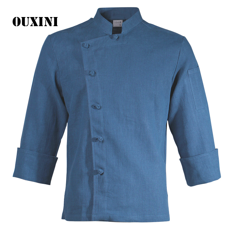 Cotton and linen cooks clothing long sleeve blue/white shirt chef jacket restaurant workwear men women cook professional uniform мужские кожанные куртки с косой молнией