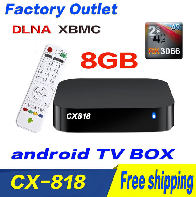CX-818 8GB Dual Core Android Smart TV Box XBMC DLNA Media Player Center Smartphone Remote Control Free Shipping