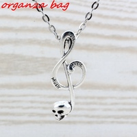 MIC 20pcs Lot Antique Silver Alloy Skull Musical Note Charm Pendant Necklaces 20 Inches Chains 39x15mm