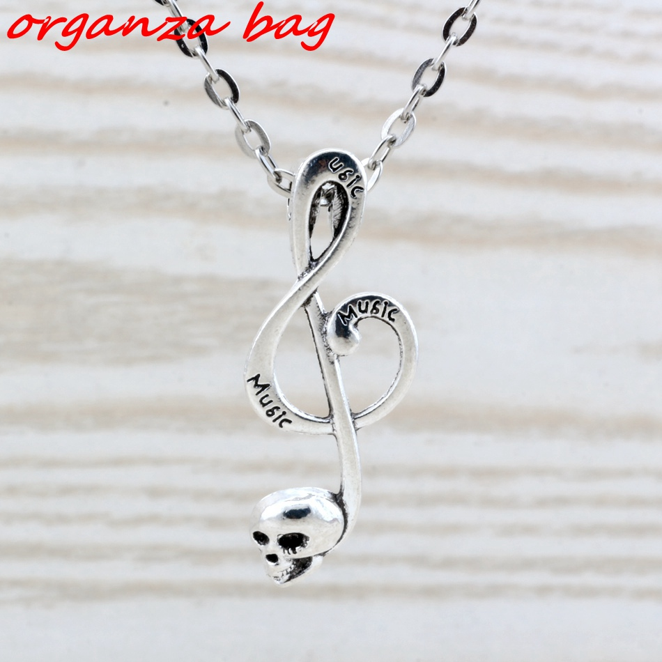MIC 20pcs lot Antique Silver alloy Skull musical note charm Pendant Necklaces 20 inches Chains 39x15mm c24