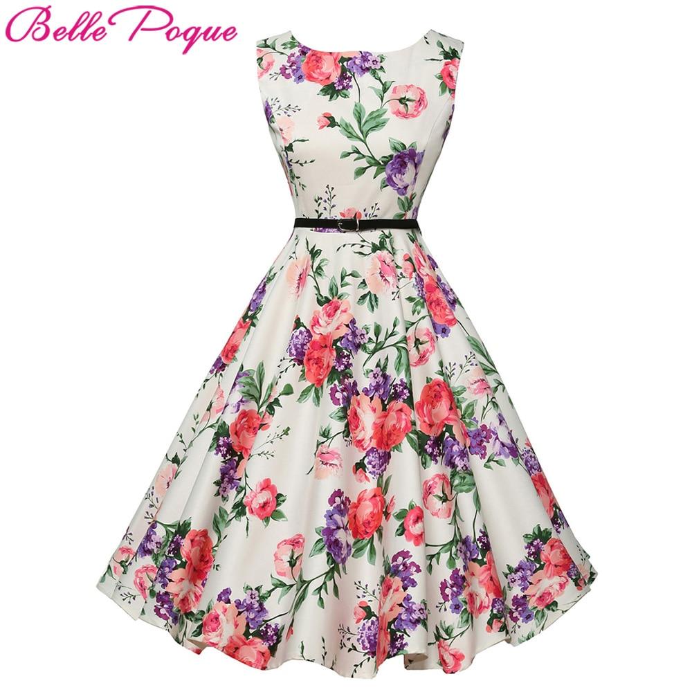 Belle Poque Para Mujer Vestido de Verano 2017 Floral Retro Vintage 50 s 60 s Roc