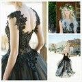 Vestido де noiva Уникальный Черный Свадебные Платья Line Милая Блестками Аппликация Свадебные Платья 2016