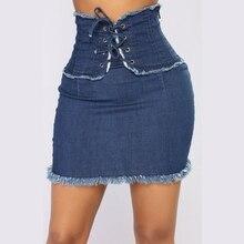Sexy Denim Skirt Casual High Waist pencil Mini Skirts Women 2019 Summer Street Pocket bandage jeans skirt Style Saia Jeans