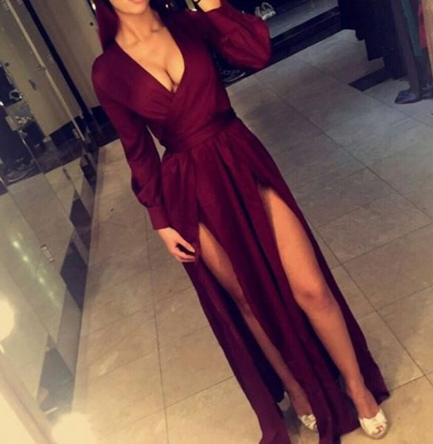 81ff8041a114d Sexy V-Neck Two front high leg splits Evening Gowns Long Sleeves Prom  Dresses Crop