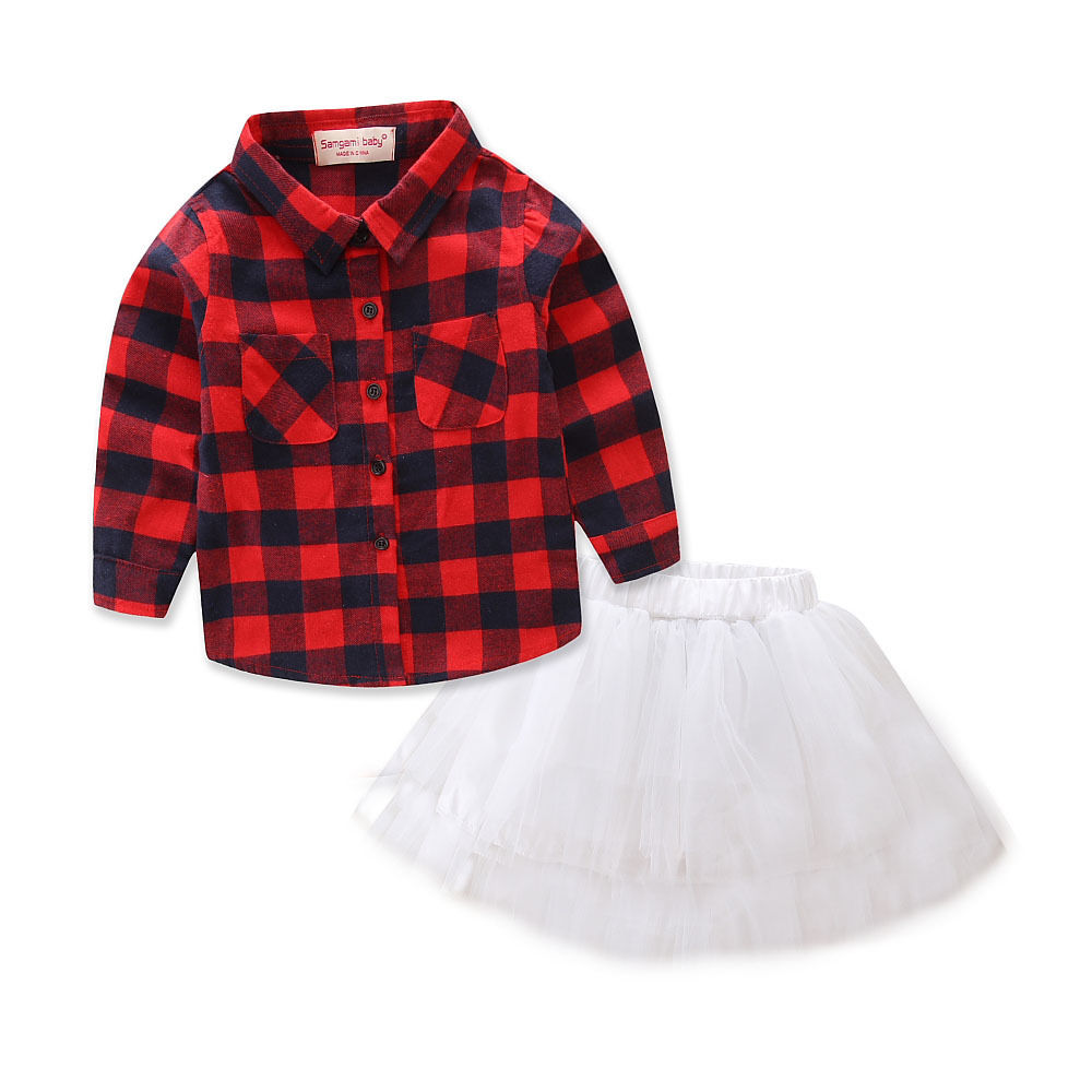 цены 2017 New Brand Red Toddler Infant Child Kids Baby Girls Shirt Tops Checked T shirt Tutu Skirt 2pcs Outfits Casual Clothes Set