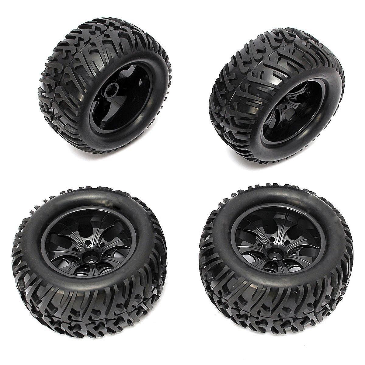 4PCS 12mm Racing Wheel Rim & Tires Redcat HSP 1:10 Monster truck RC On-Road Car Parts 12mm Hub 88005 4pcs 12mm hub hpi redcat hsp metal wheel rim
