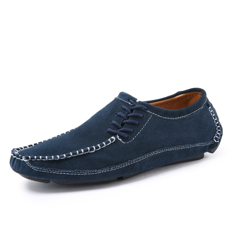 GOXPACER Fashion New Spring And Autumn Men Shoes Loafers Suede Flats Genuine Leather Shoes Lacing Moccasins Casual Shoes