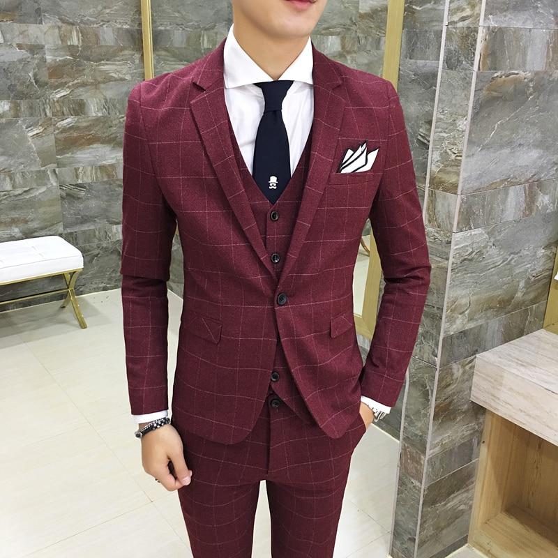 Classic Complete Mens Plaid Suits Casual Wedding Tuxedo Skinny Prom Suits Youth Men 3 Pieces Jacket + Vest + Pants Suit For Men