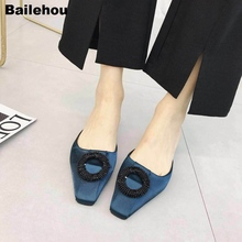 Bailehou Women Slippers Luxury Brand Mules Fashion Buckle Slides Elegant Mule Shoes Female Dress Low Heel