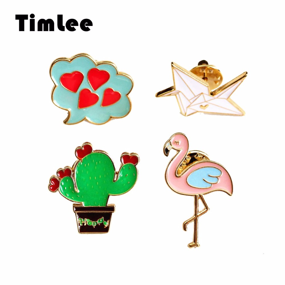Timlee X291 Cartoon Söt Flamingo Emalj Pin Cactus Origami Bird Heart Design Metall Brosch Pins Partihandel