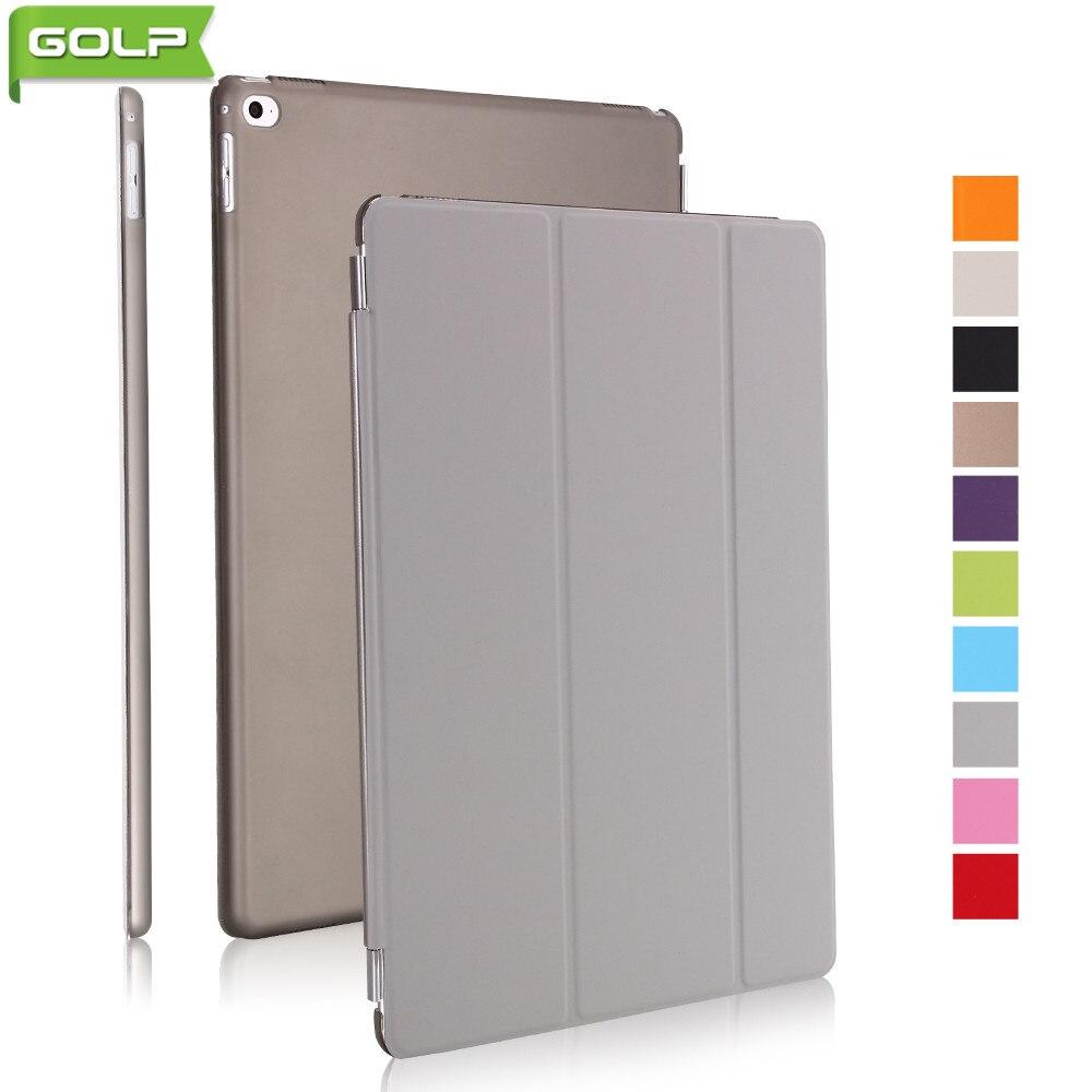 Case for IPad Pro 12.9, GOLP Tri-fold Perfect Stand PU Leather Smart Folio Cover PC Translucent Back Case for IPad Pro 12.9 aqua lung tri light pro