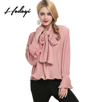 Hodoyi 2017 Autumn Fashion Solid Pink Women Shirt Cute Butterfly Single Breasted Female Blouse Beach Party Loose Sexy Loose Tops