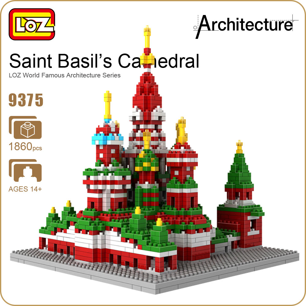 LOZ Diamond Blocks Architecture Toy Building Bricks City Saint Basil's Cathedral Plastic Assembly Toys Hobbies Educational 9375 loz blocks architecture series the white house juguetes trevi fountain mini diamond blocks compatible educational lepins toy