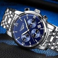 Relogio masculino นาฬิกา GUANQIN บุรุษแบรนด์หรูแฟชั่นธุรกิจชายนาฬิกาควอตซ์กีฬาเหล็กเต็มรูปแบบกันน้ำนาฬิกาข้อมือ-ใน นาฬิกาควอตซ์ จาก นาฬิกาข้อมือ บน