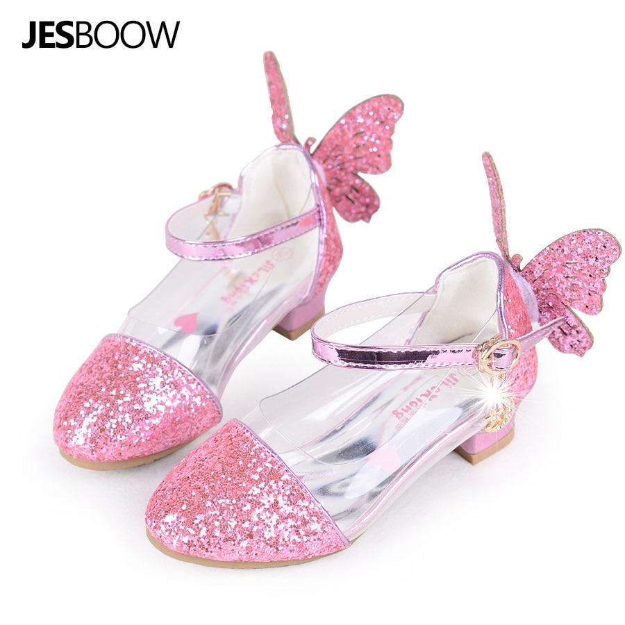 Toddler Little Girls Wing Glitter party pumps sandal Sequins Butterfly Strap Princess wedding dress Shoes