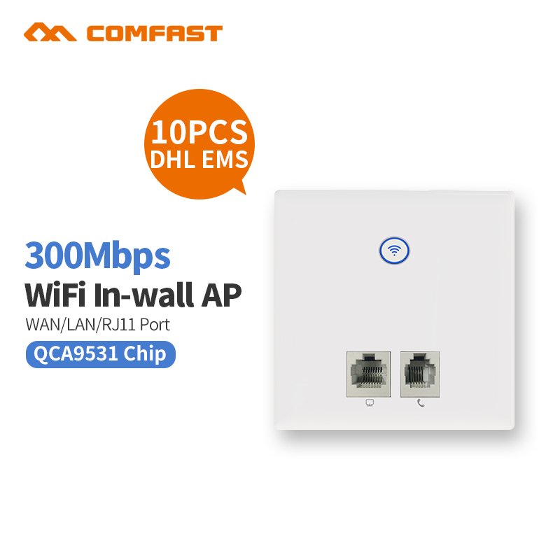 10pcs DHL 300M Wall Embedded Wireless AP Router Wall WIFI 2 RJ11 1 WAN /LAN Port mount access point indoor AP VLAN Repeater