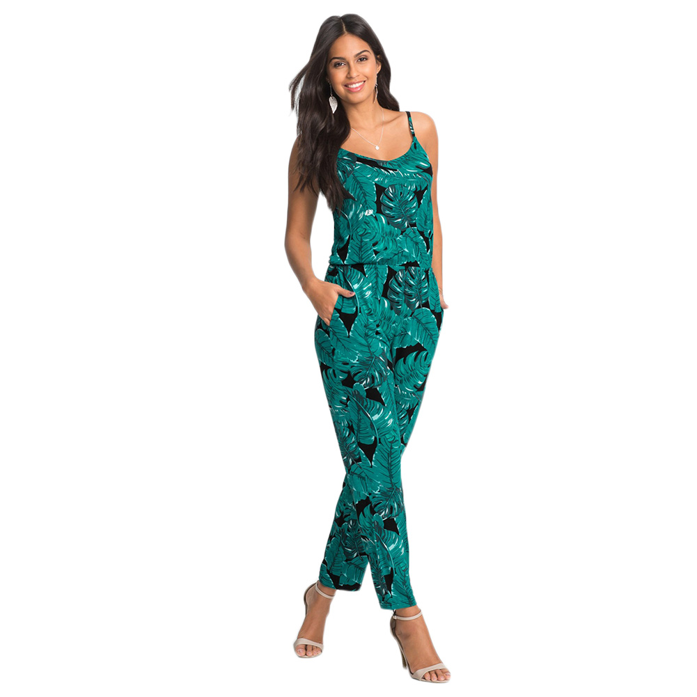 FancyQube Summer Elegant Womens Rompers Jumpsuit Casual Floral Print Bodysuit Sleeveless O Neck Long Playsuits Plus Size