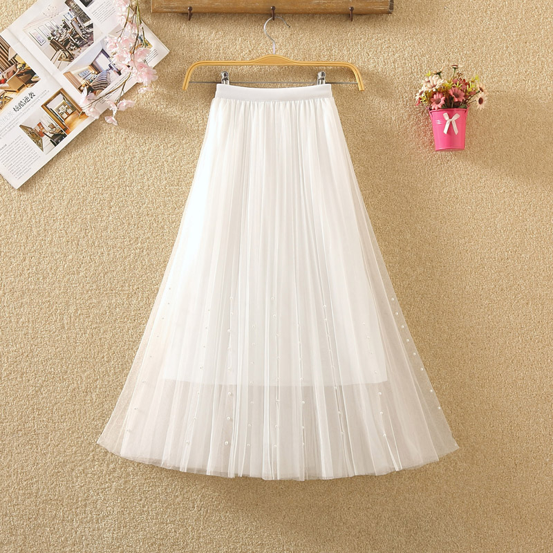 HTB1KPykPhnaK1RjSZFBq6AW7VXae - New Spring Summer Skirts Womens Beading Mesh Tulle Skirt Women Elastic High Waist A Line Mid Calf Midi Long Pleated Skirt