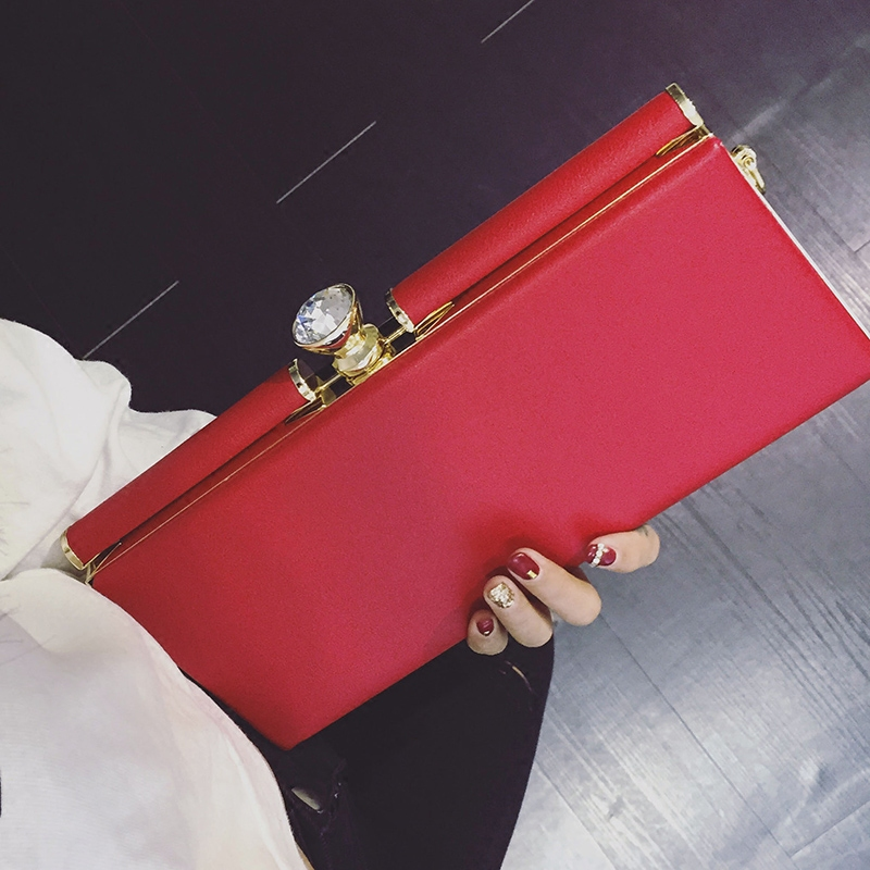 Women Evening Bags Party Clip Bag Diamond Clutch Holder Leather Handbag Designer Chain Crossbody Sac A Main Gold Red In Shoulder From