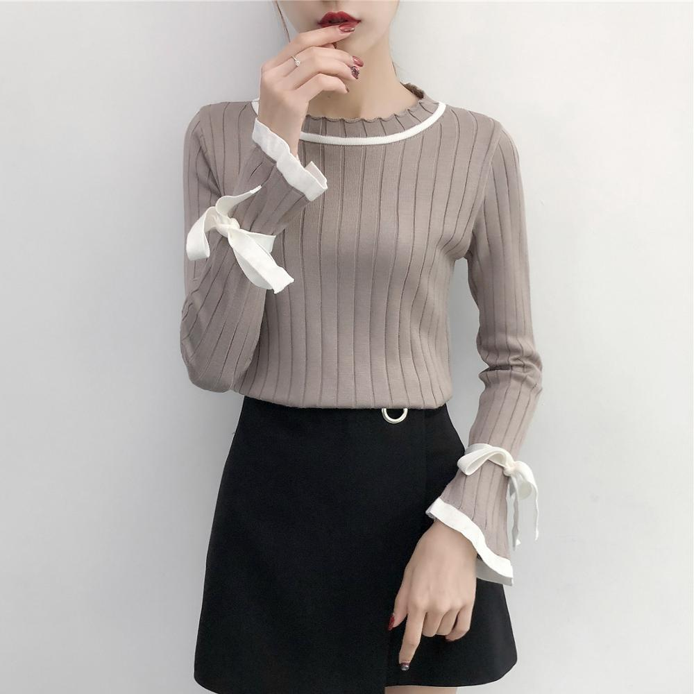 Gkfnmt Sweater Women 2019 Autumn Winter Knitted Basic Sweater Lace Up Bow Flare Long Sleeve Knitting Pullover Womens Tops Jumper